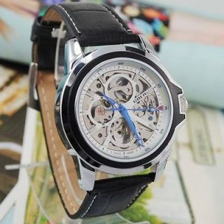 Newest Fashion Mens Wrist Watch White Skeleton Dial New Automatic