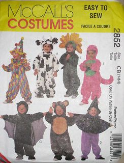 Childs Dinosaur Bat Cow Bear Flower Costume Pattern 2852 UC 1 3