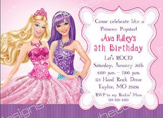 Princess Popstar Birthday Party Invitations Personalized Printable 5x7
