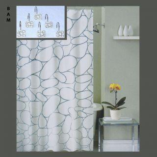 Fabric Shower Curtain + Metal/Ceramic Hooks/Rings + FREE VINYL LINER