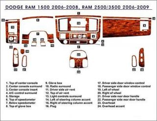 Dodge RAM 1500 2500 06 07 08 09 dash board trim kit wood aluminum