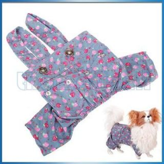 Pet Dog Strawberry Pattern Shoulder Suspender Pants Overall Trousers