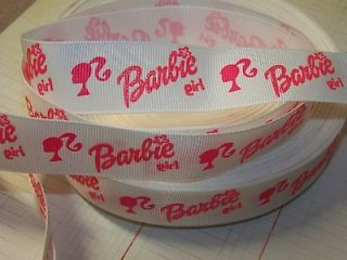metre x 1 Barbie Glitter Ponytale White Grosgrain Ribbon Hair Clips