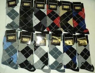 12 PAIRS ARGYLE STYLE DRESS SOCKS NEW COTTON MEN LORDS SIZE 10 13