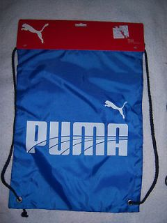 NWT PUMA WORKOUT DRAWSTRING BACKPACK~GYM SCHOOL BAG~blue/white
