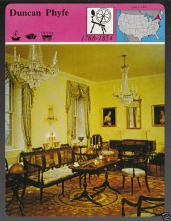 DUNCAN PHYFE Furniture Maker Story America Picture Card