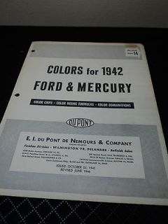 1942 FORD & MERCURY PAINT CHIPS COLOR CHART BROCHURE DUPONT #14