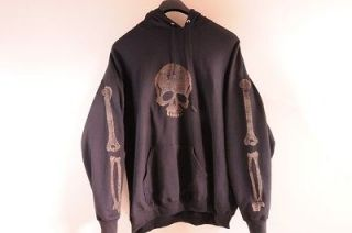 Black Hoodie Bones Skull Custom Punk OOAK 3XL Rock Faded Crossbones