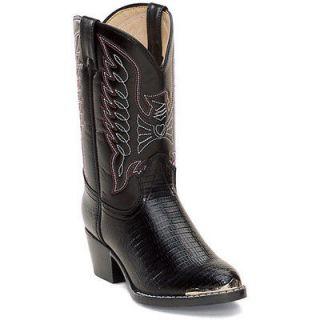 Durango BT840 Kids Black Lizard Western Boots Size 11 D