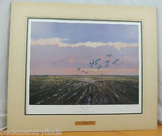 Al Barnes Numbered Signed Print Ducks Unlimited Hunting Brass Plate
