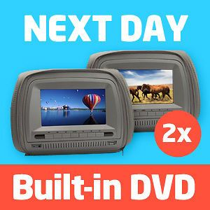 Newly listed 2X 7 LCD In Car Headrest DVD Player/Monitor Twin Screen