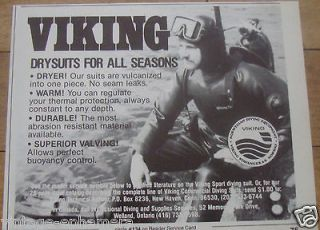 1982 VIKING SCUBA SKIN DIVING DIVER AD WETSUIT DRY SUIT DRYSUIT