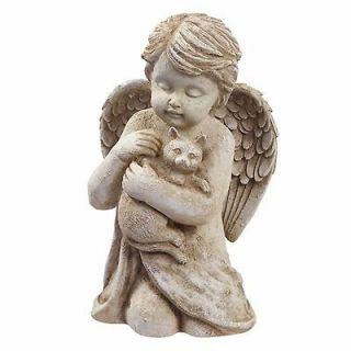 Angel w/Cat Kitten Pet Memorial Statue Garden Decor