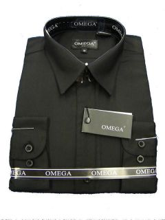 WITH TAGS, OMEGA BOYS BLACK LONG SLEEVE DRESS SHIRT   VARIOUS SIZES