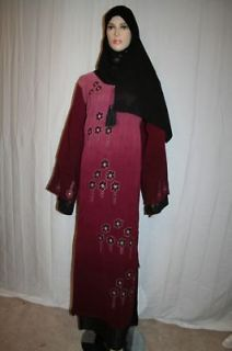 Abaya Jilbab Caftan Gown Dress Embroidery Free Shawl