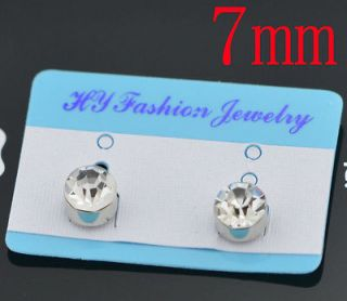 PICK 1 Pairs 7mm Clear Crystal Magnet Earring Unisex Mens Earring