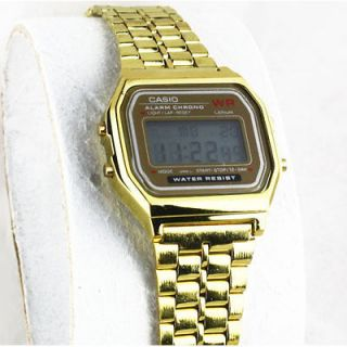 Vintage Casio Analog Digital Dual Time Gold Face Watch