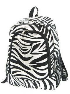 16.5 Black & White Zebra Animal Backpack School Book Bag Dance Travel