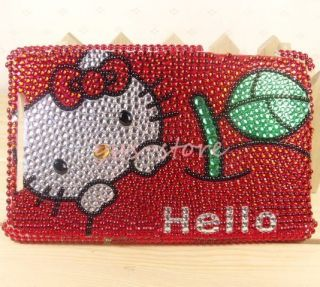 Red Hello Kitty crystal Skin cover case for Google Nexus 7 Tablet