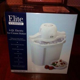 Elite Cuisine 4 Quart Electric Ice Cream Maker. Home Made Frozen