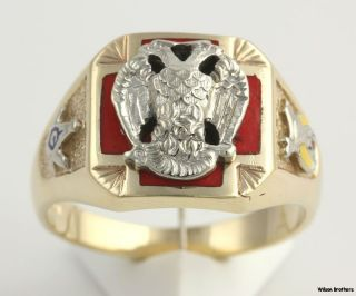 Multi Symbol Ring   10k Sold Gold Scottish Rite Shriners Master Mason