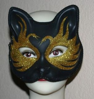 VENETIAN Mardi Gras Masquerade Ball GOLD and BLACK w/ Glitters CATMASK