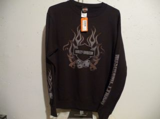 HARLEY DAVIDSON MEN PULL OVER SWEATSHIRT SIZE SMALL NEW/ TAGS (BLACK)