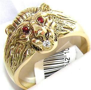 Newly listed 18K GOLD EPCZ RUBY THE KING LION MENS DRESS RING sz 8 Q