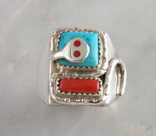 Effie Calavaza Silver Turquoise & Coral Snake Mens Ring Native