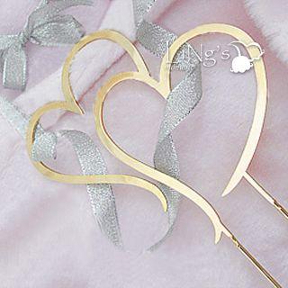 11cm Monogram Gold Metal Double Heart Wedding Cake Topper