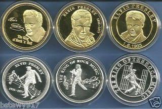 ELVIS PRESLEY 24KT GOLD & SILVER CHALLENGE COINS NEW LIMITED