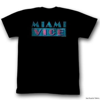 Licensed Miami Vice TV Show Distressed Logo Adult Shirt S XXL