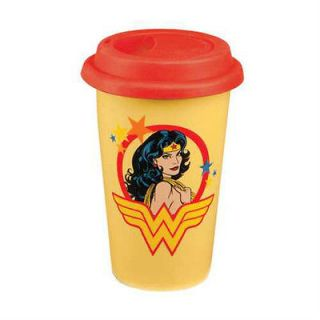 WOMAN 12 OZ DOUBLE WALL CERAMIC TRAVEL MUG WITH SILICONE LID NEW