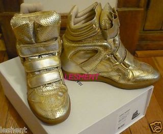 NEW IN BOX AUTH ISABEL MARANT SNEAKERS SHOES GOLD BIRD BAZIL BEKETT 40