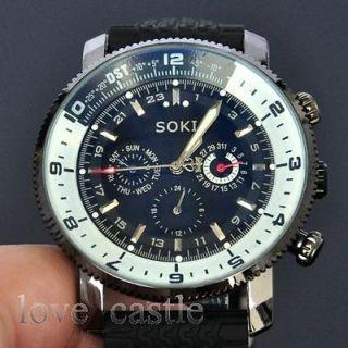 Newly listed SOKI New Black Glass Luxury Mechanical Automatic Mens Day