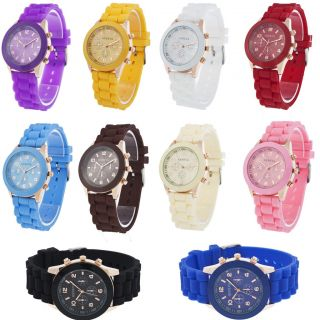 New Unisex Geneva Silicone Rubber Jelly Gel Quartz Analog Sports Wrist