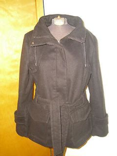 Company by Ellen Tracy Black Belted Peacoat Size M