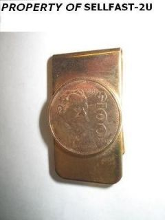 NEW 100 PESO MEXICAN COIN GOLD MONEY CLIP plus FREE PEARL RING FAST