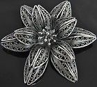 Jewelry Sterling Silver Filigree Gold Vermeil Floral Brooch Pin