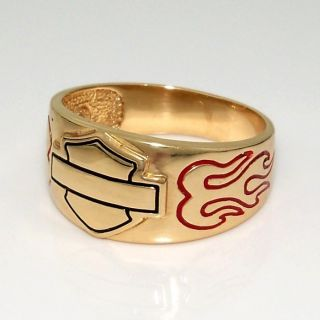Harley Davidson 10K Yellow Gold Mens Bar & Shield Flame Red Black