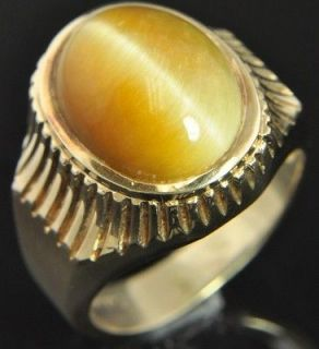 Estate Vintage 14K Yellow Gold Oval Cats Eye Apatite Solitaire Mens