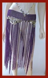 BRAND NEW SEXY FRINGE SKIRT PURPLE BELLY DANCE COSTUME TIE BELT SILVER