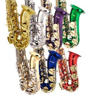 Concert Band Alto Saxophone Sax ~Gold Silver Blue +Tuner+11 Reeds+Case