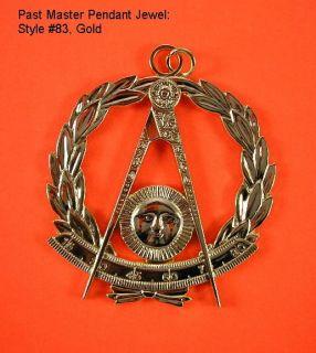 Gold #83 Masonic Past Master Jewel Pendant Medallion Freemasonry