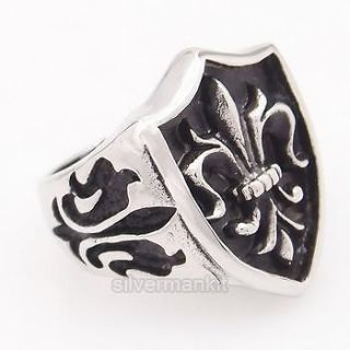 Mens Silver Black Fleur De Lis Knight Stainless Steel Ring ZR022 Size