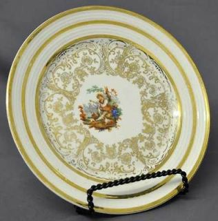 Royal China Pastoral Scene 22 KT Gold Bread Plate Man