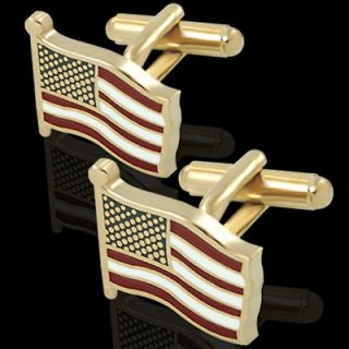 USA FLAG RED WHITE & BLUE ENAMEL w/ GOLD PLATED FINISH CUFF LINKS
