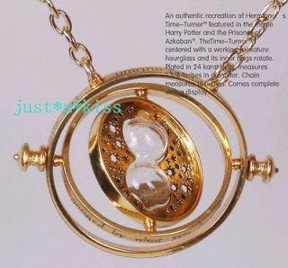 Potter Hermione Rotating Time Turner 18k Gold Necklace Granger Props