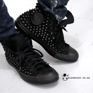 Punk Unisex Bloodycat Black Spike Stud Shoes Original Converse All