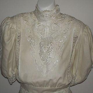 Vintage Jessica McClintock Victorian Style Linen Lace Peplum Bridal